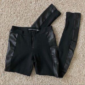 Alice + Olivia Black Leather & Ponte Legging Pant